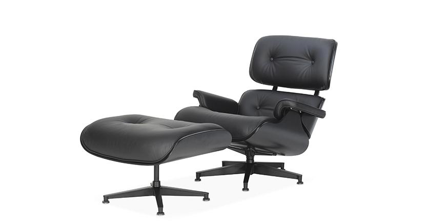 nachbau lounge chair und ottoman sonderedition schwarz charles eames. Black Bedroom Furniture Sets. Home Design Ideas