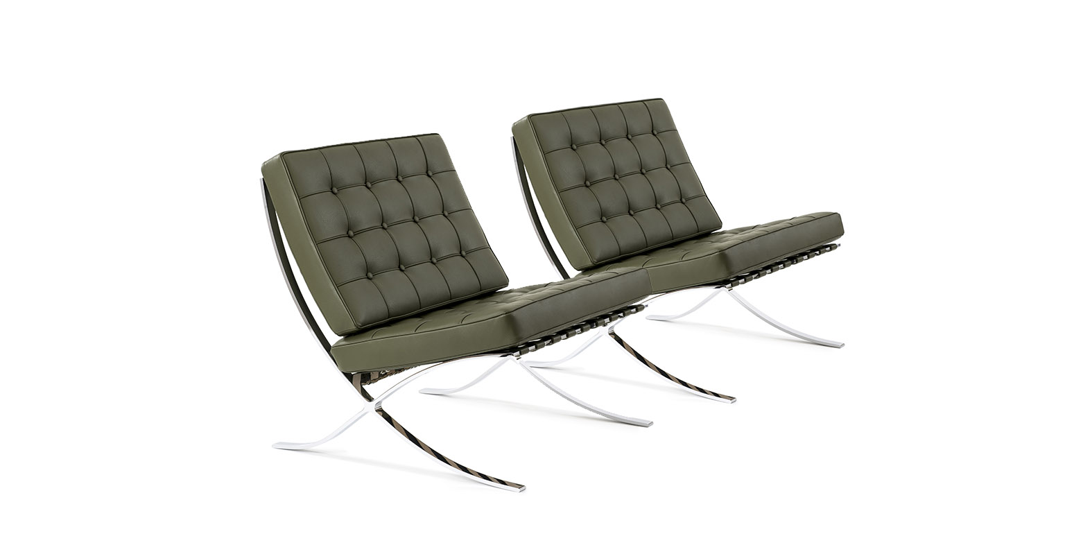 2 x barcelona sessel von ludwig mies van der rohe. Black Bedroom Furniture Sets. Home Design Ideas